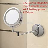 Makeup Mirrors Led Wall Mounted Extending Folding Double Side Led Light Mirror 10X Magnification Bath Mirror Toilet Mirror,10X