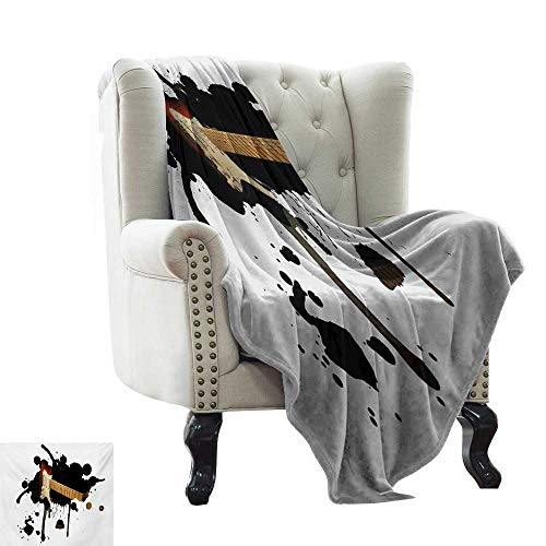 (LsWOW King Size Blanket Popstar Party,Electric Guitar Fretboard on Black Grungy Color Splashes Art,Black Pale Brown Cream Throw Lightweight Cozy Plush Microfiber Solid Blanket 50