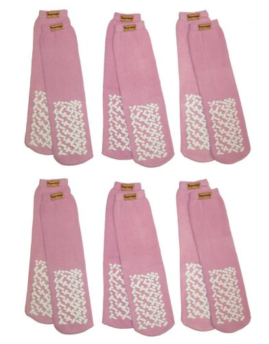 RSG Adult Anti-Slip Grip Slipper Socks Pink 6-Pairs by RSG (Image #1)