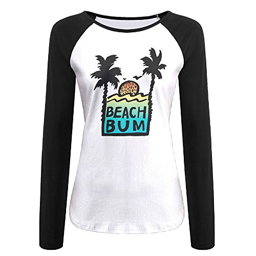 Creamfly Womens Beach Bum Sunshine Long Sleeve Raglan Baseball Tshirt XXL