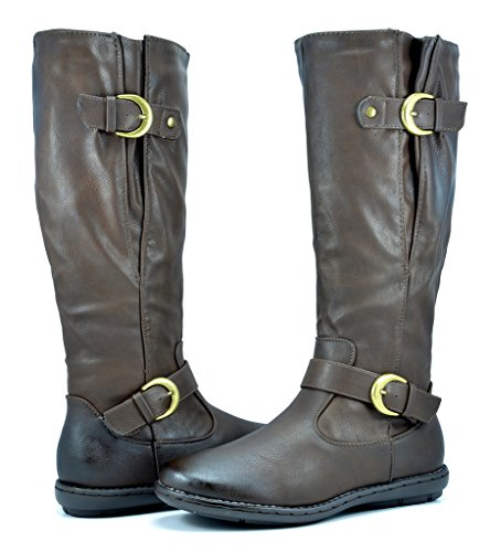 DREAM PAIRS Women's Summit Brown Faux Fur-Lined Knee High Winter Boots Wide Calf Size 9 M US