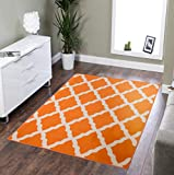 Ottomanson Glamour Collection Contemporary Moroccan Trellis Design Kids Lattice Area Rug (Non-Slip) Kitchen and Bathroom Mat Rug, 5'0' X 6'6', Orange