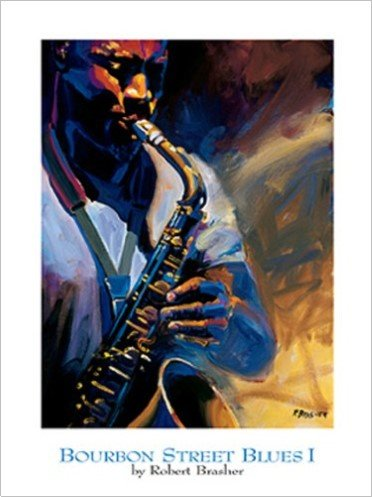 Bourbon Street Blues I by Robert Brasher 18x24 Art Print Poster Vintage Jazz Music New Orleans Saxophone Player
