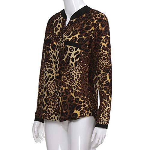 063585f4e4beb2 Beikoard Langarmshirt Damen Leopard Print Lässige Pullover Tops Lose Bluse  Shirt: Amazon.de: Bekleidung