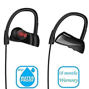 Bluetooth Headphones, AIWIN Comfortable IPX7 Waterproof Earphone with Mic Noise Reduction HD Sound with Bass Stereo Music In-ear Headset for Sports Swimming Workout Gym Running Wireless Earbuds Black