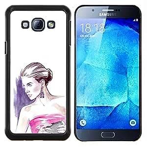 LECELL--Funda protectora / Cubierta / Piel For Samsung Galaxy A8 A8000 -- moda mujer vestido blanco púrpura --