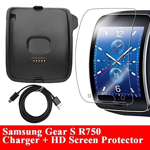 Gear S Charger With HD Screen Protector, [R750] AnoKe Replacement Portable Charging Docking Station Cradle Dock + Micro USB Data Charging Cable For Samsung Galaxy Gear S R750 Dock+SP ()