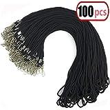 100pcs Black Cotton Lanyard Bulk Clip Swivel Hook 20.5-inch Neck Woven Badge Lanyards with Clips Black Lanyards for id Badges(100, Black)