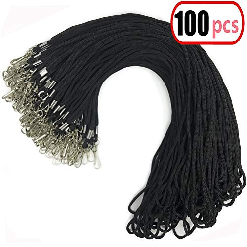 100pcs Black Cotton Lanyard Bulk Clip Swivel Hook 20.5-inch Neck Woven Badge Lanyards with Clips Black Lanyards for id Badges(100, Black) ()