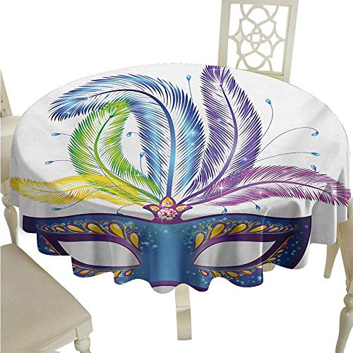 Round Tablecloth Mardi Gras,Blue Ornate Venetian Festival Mask with Feathers Masquerade Parade Preparations,Multicolor D54,for Party ()