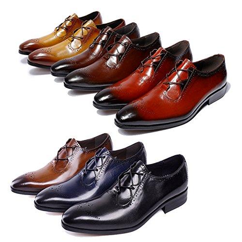 Felix Chu Men's Italian Designer Luxury Perfect Genuine Calf Leather Shoes Men Formal Dress Men Wedding Shoes Men Office Business Shoes (12, (Italian Leather Dress Shoes)