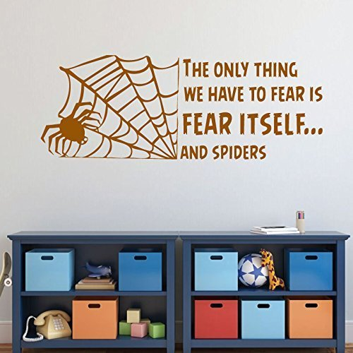 Halloween Decoration Spider - The Only Thing We Have To Fear is Fear Itself.And Spiders With Web - Fear Quotes, Halloween Wall Decals for Home, Office, Halloween Party Decorations]()