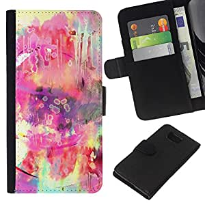 Planetar® Modelo colorido cuero carpeta tirón caso cubierta piel Holster Funda protección Para Samsung ALPHA / SM-G850 / S801 ( Hippie Colorful Pink Yellow )