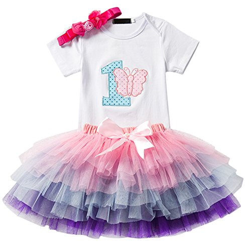 IBTOM CASTLE Baby Girl It's My 1st Birthday 3Pcs Outfits Skirt Set Romper+Tutu Dress+Headband Cake Smash Crown Bodysuit Clothes Jumpsuit White Butterfly(1 Year) One Size