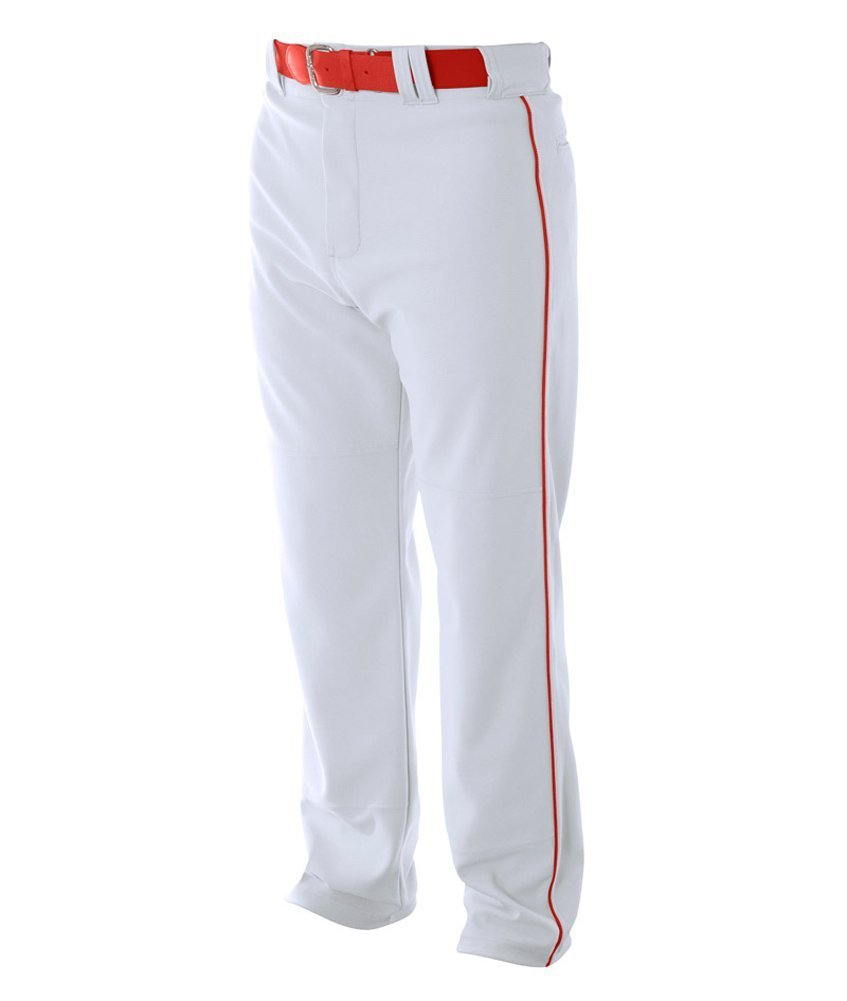 A4 野球用 バギーパンツ メンズ プロ仕様 パイピング入り B003M0MKFI M|White|Scarlet White|Scarlet M
