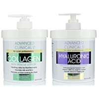 Advanced Clinicals Collagen Cream & Hyaluronic Acid Cream Set. Collagen Rescue Lotion...