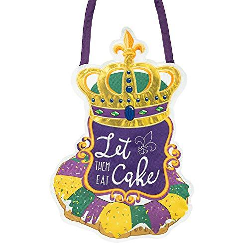 King Cake Mardi Gras Door Decor Decoration New Orleans Fleur De Lis Purple Green Gold Crown NOLA