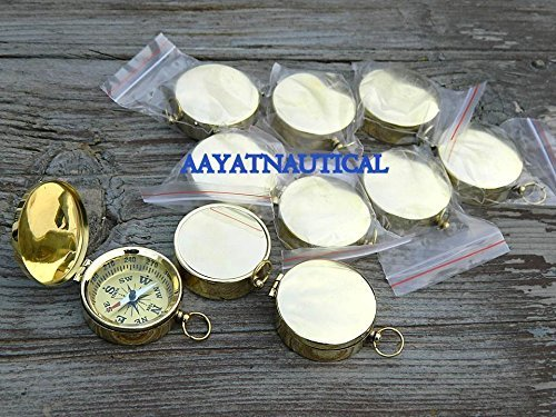 Shaheera Nautical Lot of 10真鍮Working蓋コンパス2インチNautical CompassギフトMaritime B07BWGY981