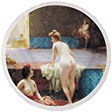 Pixels Round Beach Towel With Tassels featuring ''The Turkish Bath, 1896 Oil On Canvas'' by Pixels