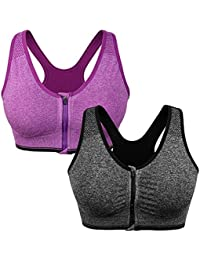 95129dc6a9 Women s Zip Front Sports Bra Wireless Post-Surgery Bra Active Yoga Sports  Bras