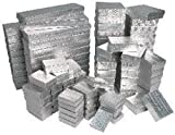 100 Pieces Assorted Sizes Silver Cotton Filled Jewelry Gift Boxes Foil Box Store