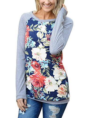 Ebbizt Womens Elegant Ladies Long Sleeve Floral Printed O