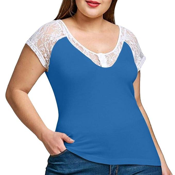 LRWEY Camisetas para Mujer, Camiseta de Encaje de Manga Corta con Cuello en V para