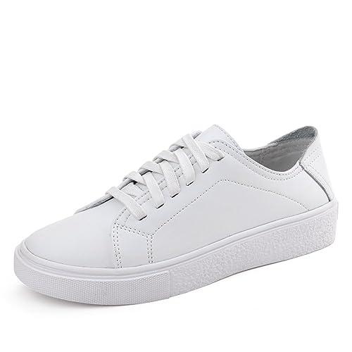 Chico Mujer Zapatos Blancos/Zapatos de Cuero Casual Mujeres/El Ballet Pisos Calzado/