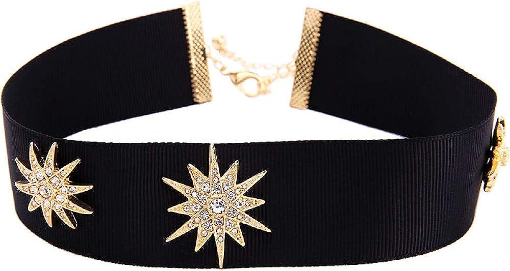 Collar con colgante Mujer Collar asimétrico Cinta negra Forma de estrella Diamante Collar de mujerJoyería de personalidad demoda europea y americana
