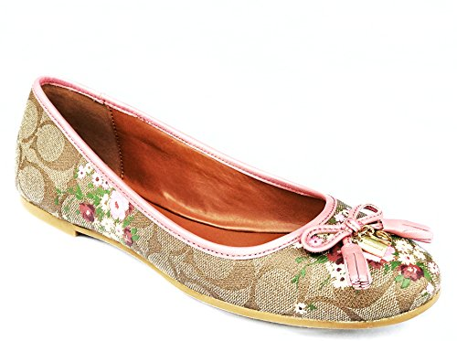 Coach Ballet Shoes (Coach Women's C Signature Floral Tassel Flat Shoes Khaki Pink US 7.5)