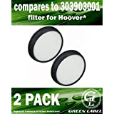 2 Pack For Hoover WindTunnel Air Bagless Upright Primary Washable Vacuum Filter (compares to 303903001). Genuine Green Label product.