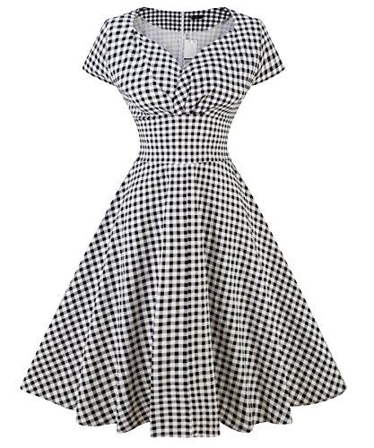 Black Dress Wenseny Cap Casual Dress Rockabilly Retro Polka Womens Dot 1950s Plaid Sleeve FP7SwqF