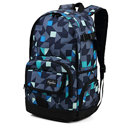 Ricky-H Stylish Pattern Backpack for Students, Men & Women Multi-Purpose Travel Rucksack, Fits 15.6 inch Laptop-Grey & Blue by Ricky-H
