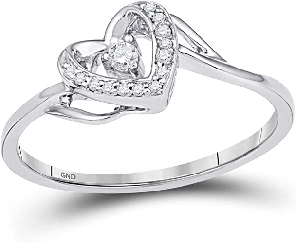 10K Yellow Gold Diamond Heart Ring Size 11
