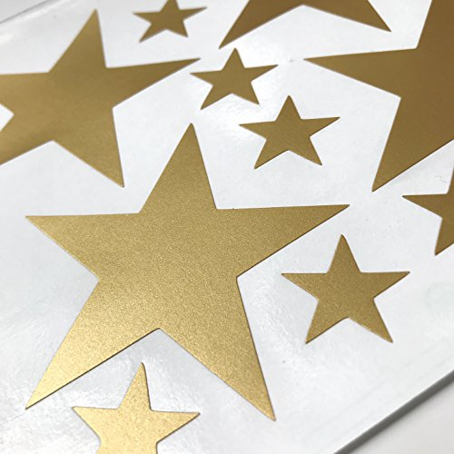 TOARTi Stars Wall Decals (124 Decals) Wall Stickers Removable Home Decoration Easy to Peel Stick Painted Walls Metallic Vinyl Polka Wall Decor Sticker for Baby Kids Nursery Bedroom (Gold Stars)