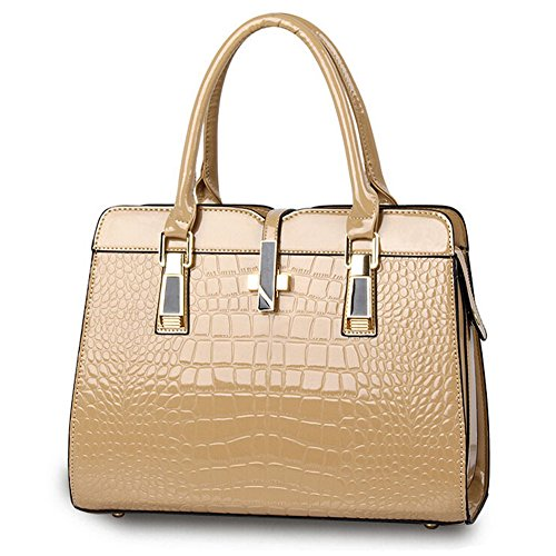 Hattie Decor Crocodile Kahaki Patent Vintage Women's Tote Metal Navy Leather Skin Handbag Bag wZqpOxwRn