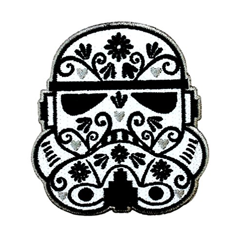 Storm Trooper Sugar Skull Iron-On Patch]()