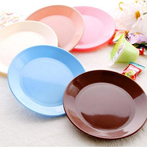 Candy Compote - Vistaric 2 pcs Candy Color Plates Dishes Compote Dazzle Saucer Fruit Tray Serving Tray Snacks PP Plastic Plates Tableware Supply