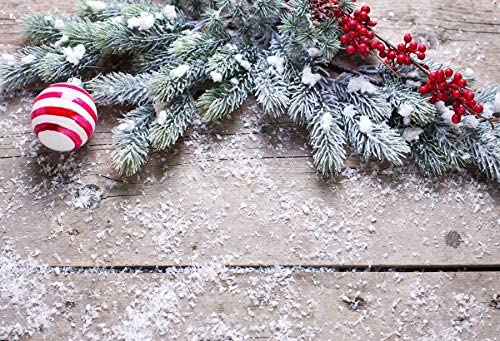 Vinyl 8x6.5ft Merry Christmas Backdrop Christmas Tree Branch Photography Background Christmas Ball Christmas Dry Fruit Snowflake Wooden Wall Vintage Backdrop Studio Props