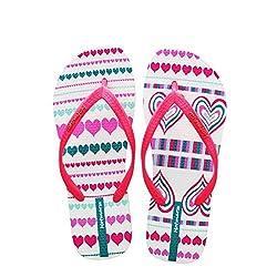 Hotmarzz Women S Heart Shape Printing Summer Beach Slippers Tong Sandals Flat Slides Size 5 B M Us 36 Eu 37 Cn Red