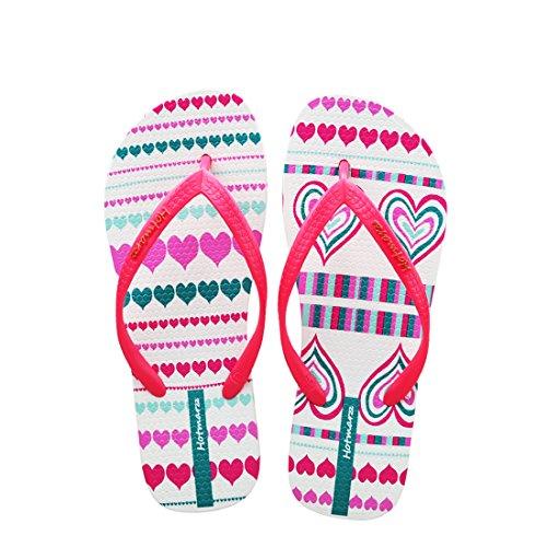 Hotmarzz Women's Heart Shape Printing Summer Beach Slippers Tong Sandals Flat Slides Size 6 B(M) US / 37 EU / 38 CN, Red