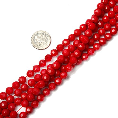 Faceted Red Coral Round Beads - 6