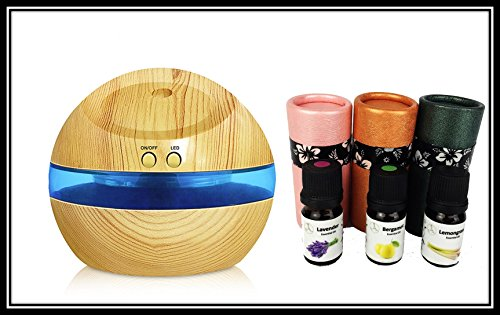 100% Pure Natural Therapeutic Grade Premium Essential Oil with Ultrasonic diffuser by AMBERLYS (Ultrasonic Diffuser Set, Light Oak Rounded) (Light Diffuser Roll)