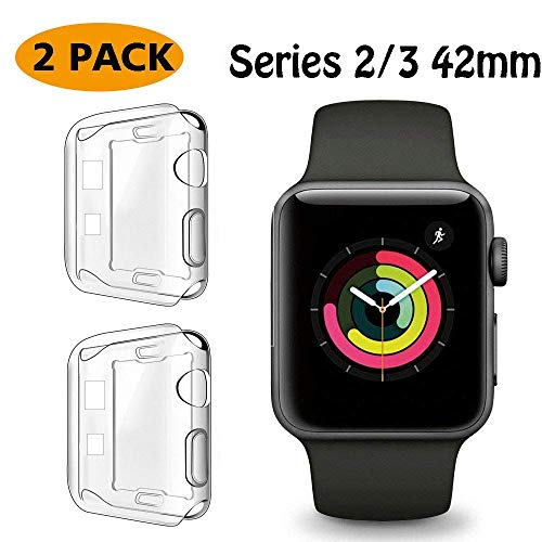 FINENIC【2 Pack】 Compatible Apple Watch Series 2/3 42mm Screen Protector case Cover, Soft TPU Screen Protector Case for iwatch Series 2/3 42mm (Color Combination) (Clear/Clear)