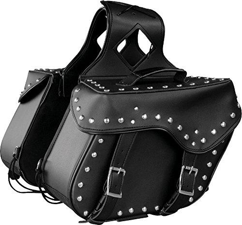 - Milwaukee Performance SH652ZB Black Zip-Off Triple Buckle PVC Throw Over Saddle Bag with Studs & Conchos (18X11X7X19)
