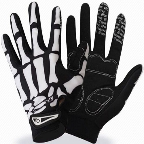 Stylish Men Women Anti Slip Bone Skeleton Cycling Racing Riding Full Finger Gloves Black & White Motocross Motorcycle Biker Bicycle Bike Sports Skull Glove Winter Warm Unisex Gloves X-Large