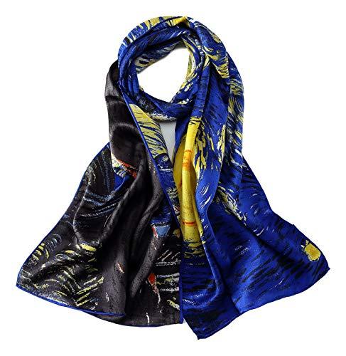Women's Long Charmeuse Silk Scarf Classic Art Print (Starry Night Van Gogh) - Large Art Silk