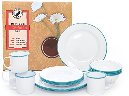 Enamelware 16 Piece Dinnerware Starter Set - Solid White with Turquoise Trim