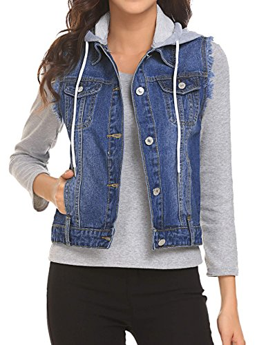 a0e0c028bb649e UNibelle Women Buttoned Washed Denim Vest Sleeveless Jean Jacket with Flap  Pockets - Buy Online in UAE.