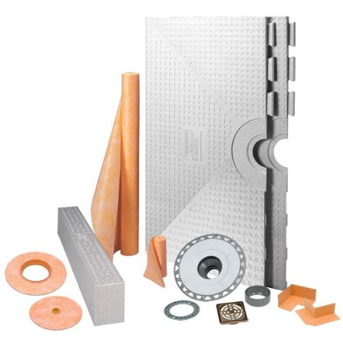 KERDI-SHOWER-KIT - 48'' x 48'' Tray - Shower Kit - Center Drain - PVC Flange - Oil Rubbed Bronze Steel